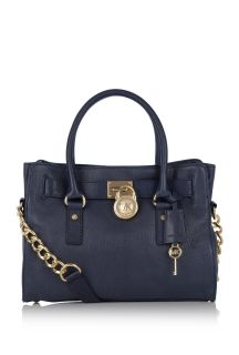 NWT MICHAEL Michael Kors Hamilton Navy East West Satchel Tote Shoulder