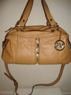 Michael Kors Moxley Tan Genuine Leather Satchel $398 New with Tag
