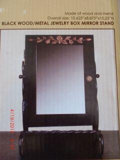 Kirklands Black Wood Metal Jewelry Box Mirror Stand