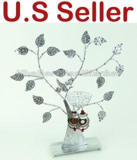 Earring Jewelry Display Stand Holder Metal Flower Tree w Bird Nest