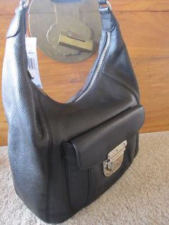 NWT MICHAEL KORS Riley Black Pebbled Leather Hobo Large   Retail $