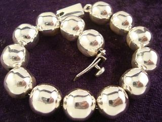 Taxco Mexican Sterling Silver Beaded Bead Bracelet Mexico