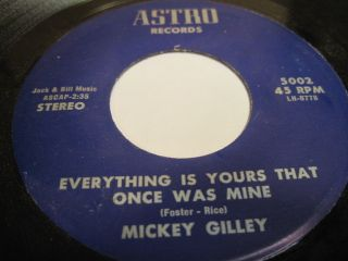 Mickey Gilley Everything Is Yours That Once Was Mine Astro Houston