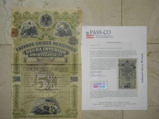 1899 Green Lady ESTADOS UNIDOS MEXICANOS DEUDA INTERIOR 5 500 LETRA L