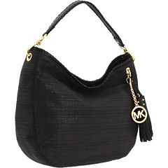 Michael Kors Black Soft Straw Bennet Large Hobo Shoulder Tote Bag