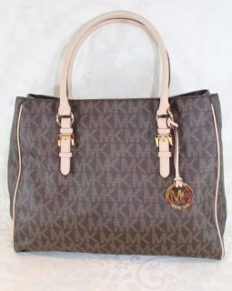 Michael Kors Dark Brown Logo PVC Coated Work Tote
