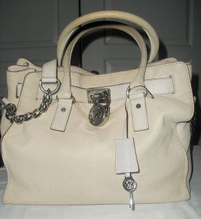 Michael by Michael Kors Hamilton Leather Vanilla Padlock Satchel Tote