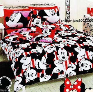 Mickey Minnie Mouse Disney reversible Queen Bed Quilt Doona Duvet