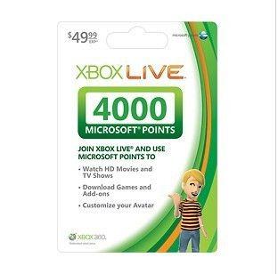 4000 Microsoft Points MSP Code Xbox Live 360 ONLY USA XBOX Live 4000