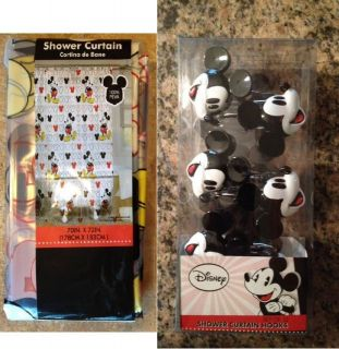 DISNEY MICKEY MOUSE SHOWER CURTAIN AND FULL SET OF 12 HOOKS BATHROOM