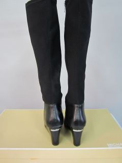 250 Michael Michael Kors Womens Bromley Wedge Boot Black Leather 10 M
