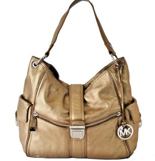 Michael Kors Riley Metallic Leather Large Shoulder Bag Bronze $448