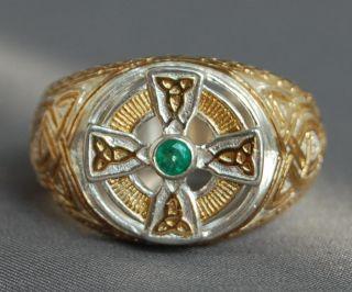 Estate Mens Emerald Celtic Cross Vermeil Ring 11 5 13 13 5 14