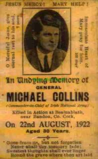 Michael Collins 1922 Irish Republican Army Free State Memorial Card