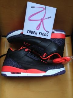 Nike Air Jordan Retro 3 Black Bright Crimson Red 2013 9 136064 005