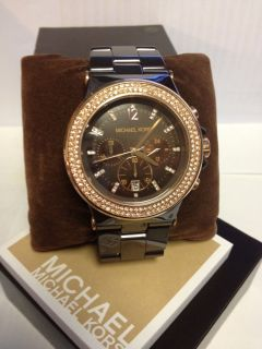 Michael Kors Watch Womens Chronograph Brown Ceramic Bracelet