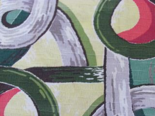 Miami Beach Mid Century Moderne 40s Vintage Barkcloth Fabric Panel