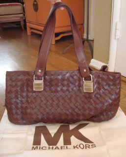 Brown Leather Woven Michael Kors Large Shoulder Bag w Gold Hardware