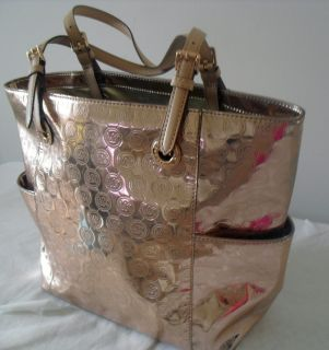 Michael Kors Rose Gold Metallic Mirrored MK Monogram Leather Tote Bag