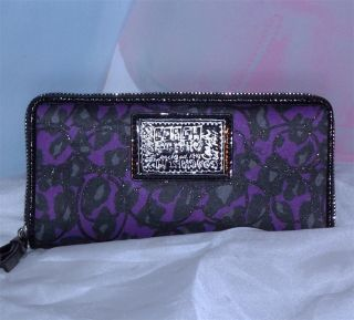 NWT COACH DAISY OCELOT Purple Black ZIP AROUND ACCORDIAN WALLET 48108