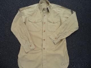 WWII USMC Marine Corps Khaki Uniform Shirt with Chevrons