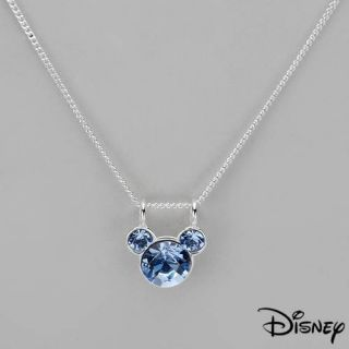 Disney Mickey Mouse Necklace w Genuine Crystal Crafted in 925 Sterling