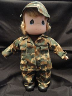 Vintage Precious Moments Holly Military Doll in Fatiques 1443 12 Ins
