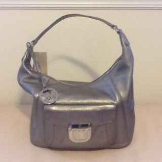 Michael Kors Riley Womens Large Leather Shoulder Bag Hobo Gunmetal