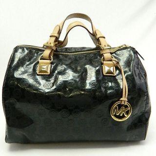 Michael Kors MK Black Grayson Large Monogram Mirror Handbag Satchel $