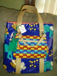 Fossil Key per Elephant N s Tote Blue Turquoise Print Coated Canvas $