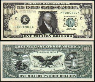Millon Dollar Patriot Note w Revere Lot of 2 Bills