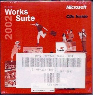 Works Suite 2002 Software Microsoft Office XP Brand New Factory SEALED