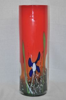 Mihai Topescu Art Glass Red Vase Hand Blown Romania New