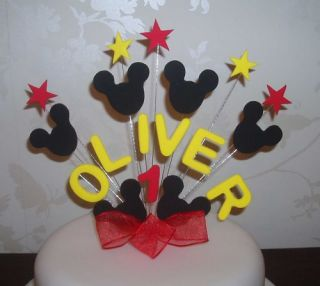 Birthday Cake Topper Mickey Mouse Red Yellow