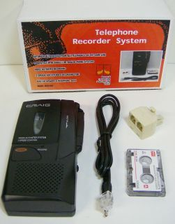 Micro Cassette Telephone Recorder Record Phone Call 2 Speed Voice