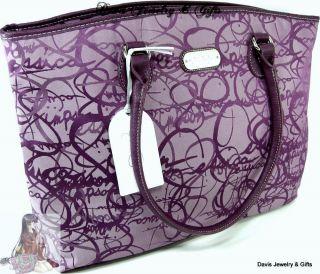 Jessica Simpson XL Luggage Laptop Signature Twister Purple Purse Bag $
