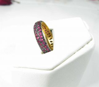 Estate 1 0CT Natural Ruby Eternity Wedding Ring Band 18K Yellow Gold