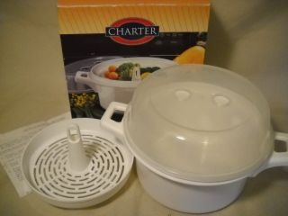 Charter Microwave Steamer Cooker 1 Qt w Box Instruct