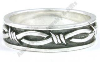 New 925 Sterling Silver Mens Barbed Wire Ring Size 9