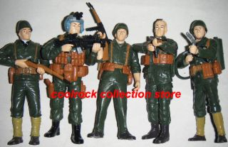 Lot of 5 WW2 Military Soldier Action Figures 12cm