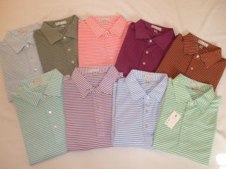 New Mens Peter Millar Mesh Classic Stripe Polo Shirt Large Pick A