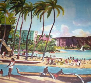 Vtg United Airlines Millard Hawaii Waikiki Beach Print