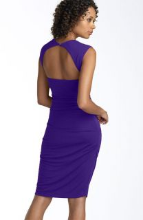 Nicole Miller Open Back Jersey Sheath Dress in Eggplant. New Without