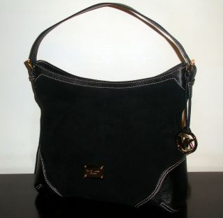 Black Suede Leather 'Millbrook' Large Shoulder Bag Tote