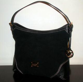 Black Suede Leather 'Millbrook' Large Shoulder Bag Tote