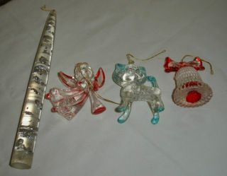 VINTAGE CHRISTMAS LOT HONG KONG LUCITE ANGEL CAT BELL ORNAMENT CANDLE