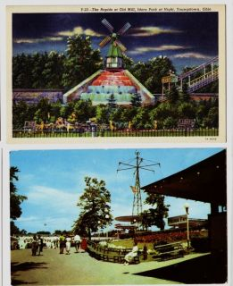 AMUSEMENT PARK Youngstown Ohio Postcards THE RAPIDS Midway FUNHOUSE