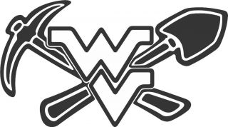WVU Coal Miner Pick Shovel Decal Sticker FAST  WV Miner
