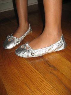 New Girls Michael Kors Silver Ballet Flats Shoes Bag 2
