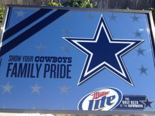 Dallas Cowboys NFL Miller Lite Mirror 37x25